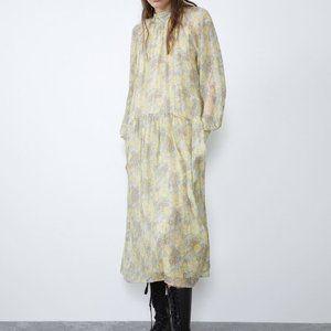 Zara METALLIC THREAD PRINTED DRESS7521/311